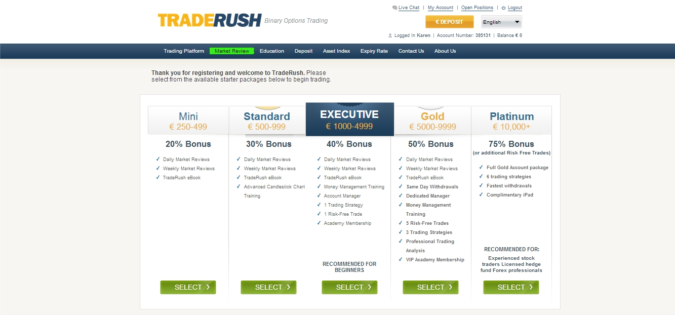 TradeRush Packages