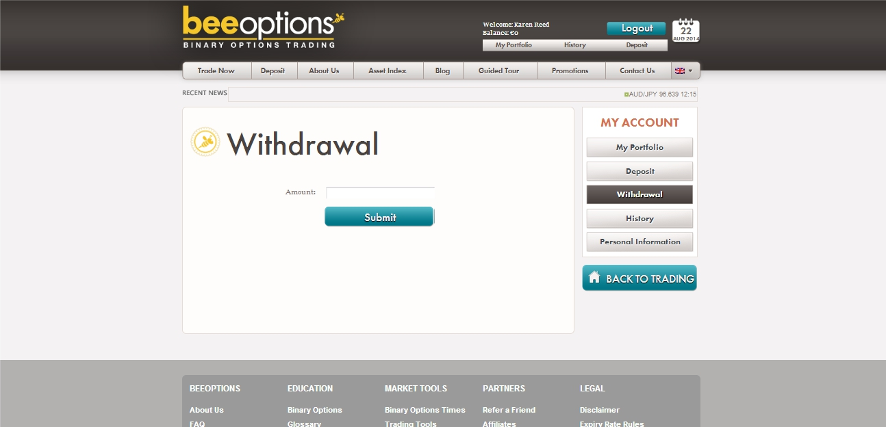 BeeOptions Withdrawal